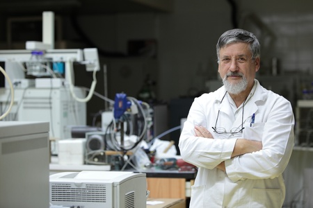 Renowned and confident-looking scientistdoctor in a research centerhospital laboratory  Stock Photo