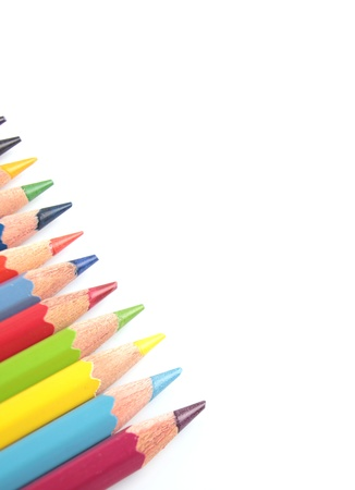 color pencils close-up isolated on white background photo