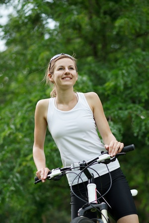 portrait of a pretty female biker Stock Photo - 9948286