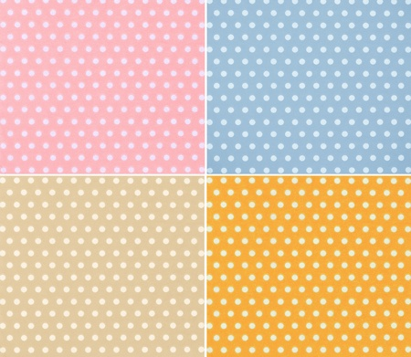 four different stylish dotted backgrounds (white circles on colored background) photo