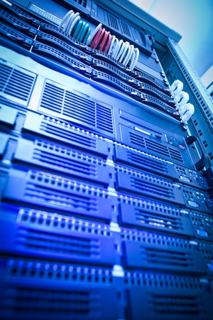Server rack cluster in a data center (shallow DOF; color toned image) Stock Photo - 10364662