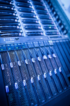 rack server: Server rack cluster in a data center (shallow DOF; color toned image)