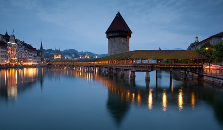 lucerne: Famous covered wooden footbridge in Lucerne, Switzerland