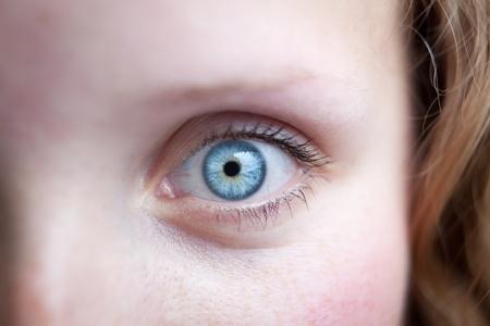 Close-up van een mooi vrouwelijk blauw oog