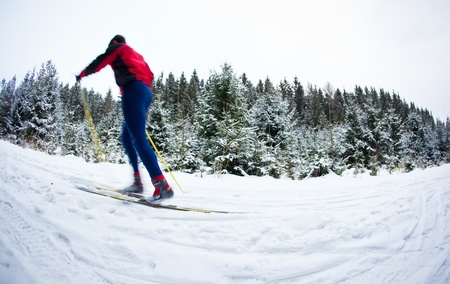 young man cross-country skiing on a snowy forest trail (color toned image) photo