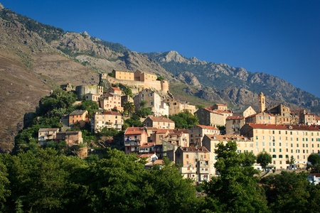 pano: View of Corte, Corsica, France