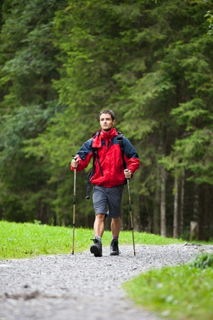 active handsome young man nordic walking/hiking in mountains, enjoying the outdoors Stock Photo - 10523692