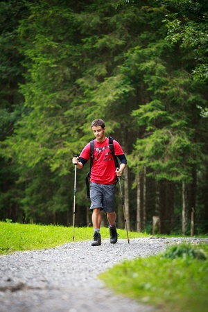 active handsome young man nordic walking/hiking in mountains, enjoying the outdoors Stock Photo - 10523713