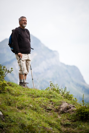 active handsome senior man nordic walking outdoors on a forest path, enjoying his retirement Stock Photo - 10575829