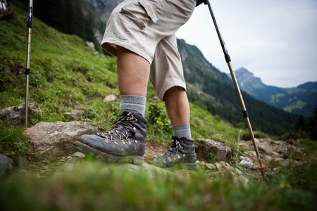 hiking in high mountains (motion blurred image) Stock Photo