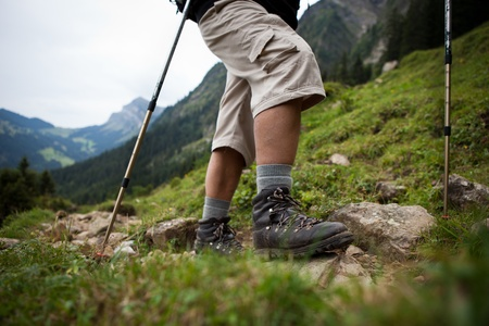 action fund: hiking in high mountains (motion blurred image) Stock Photo