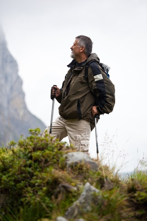 active handsome senior man nordic walking outdoors on a forest path, enjoying his retirement Stock Photo - 10575804