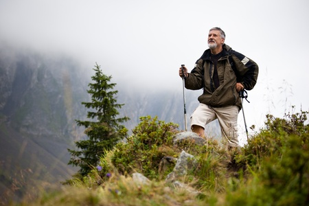 active handsome senior man nordic walking outdoors on a forest path, enjoying his retirement Stock Photo - 10575901