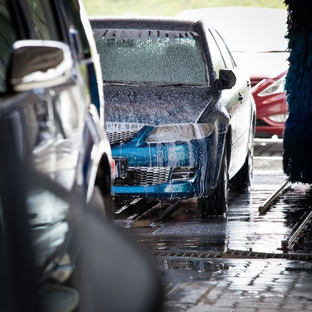 soap suds: cars in a carwash