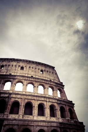 Colosseum against the sky - detailed view of the ancient Roman arena in black and white Stock Photo - 11034524