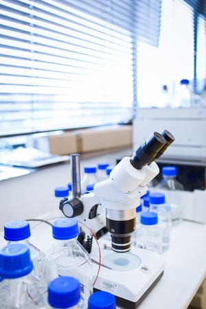 chemistry lab (shallow DOF; focus on the beakers in the foreground) photo