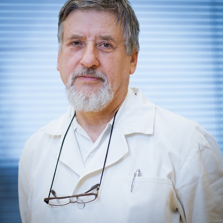faculty: Portrait of renowned scientistdoctor in a research centerhospital laboratory. Stock Photo
