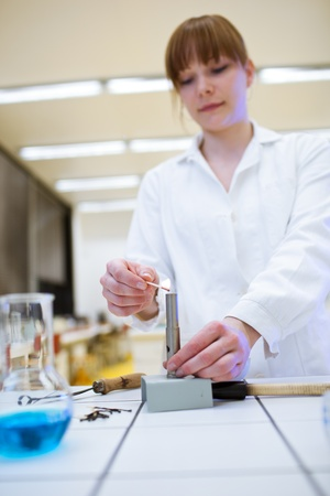 pharmacy technician: pretty female researcherchemistry student lighting up a burner in a lab (color toned image)