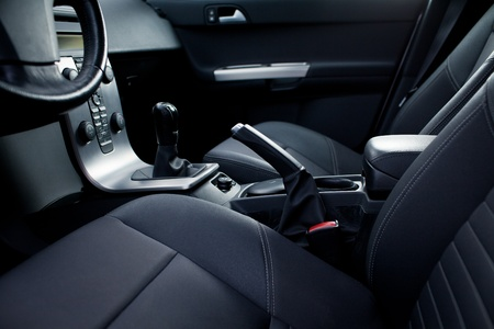 Interior of a modern car (dashboard with gear lever)