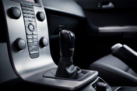 Interior of a modern car (dashboard with gear lever) photo