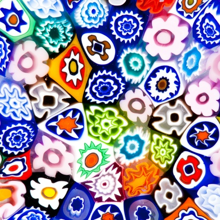 concave: Colorful modern glass art texture composed of different vivid color flower-like pieces Stock Photo