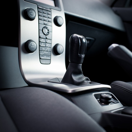 dash: Interior of a modern car (dashboard with gear lever)