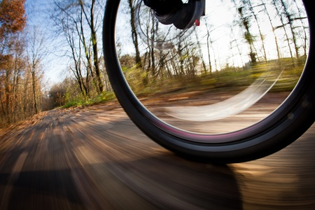 bike trail: Bicycle riding in a city park on a lovely autumnfall day (motion blur is used to convey movement)