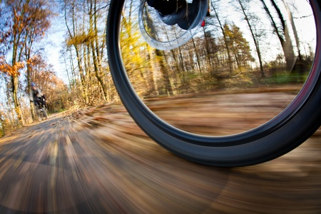 Bicycle riding in a city park on a lovely autumnfall day (motion blur is used to convey movement) photo