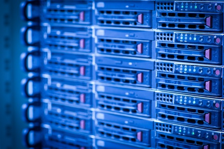 Server rack cluster in a data center (shallow DOF; color toned image) photo