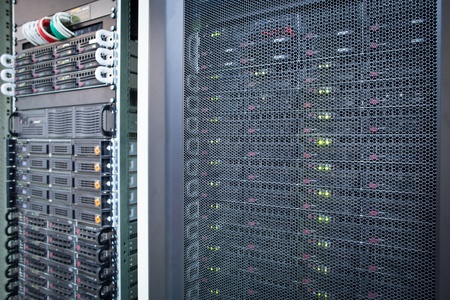 Server rack cluster in a data center (shallow DOF; color toned image) Stock Photo - 11940561