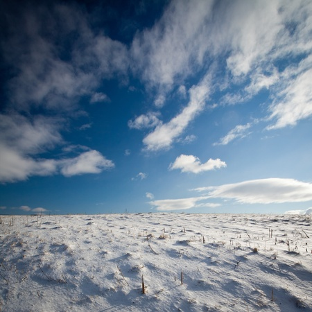 Snowy mountain scenery with deep blue sky Stock Photo - 12120756