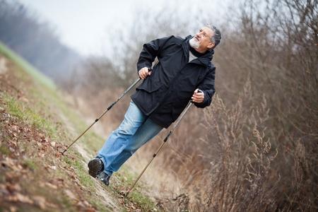 Senior man nordic walking Stock Photo - 12405785