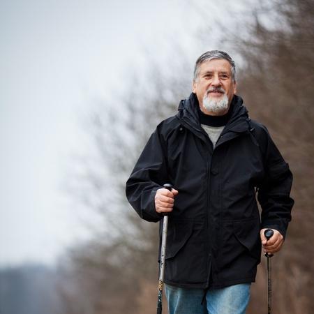 Senior man nordic walking Stock Photo - 12401517