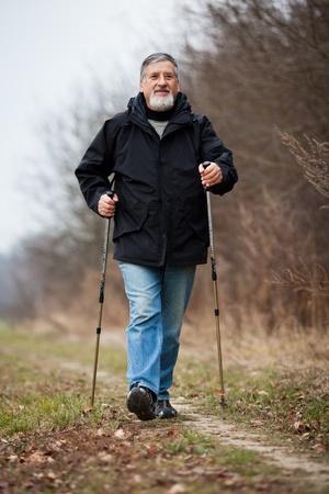 Senior man nordic walking Stock Photo - 12405717
