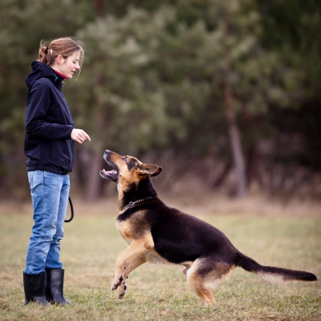 shepherds: Master and her obedient (German shepherd) dog