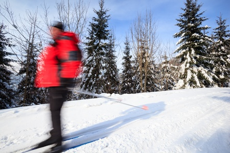convey: Cross-country skiing: young man cross-country skiing on a lovely sunny winter day (motion blur technique is used to convey movement)