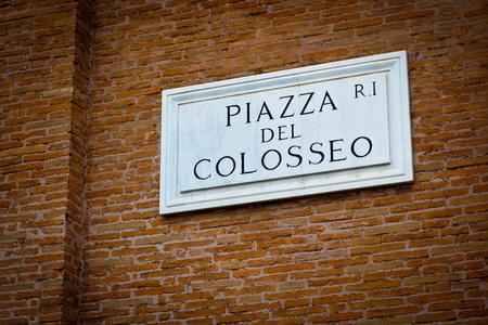 Piazza del Colosseo - detail of a street plate near Colosseum in Rome, Italy Stock Photo - 12467671