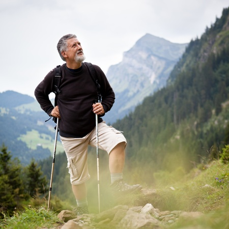 Active senior hiking in high mountains (Swiss Alps) photo