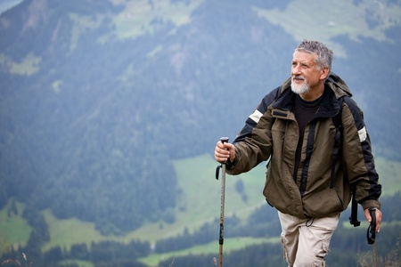 Active senior hiking in high mountains (Swiss Alps) Stock Photo - 12637891