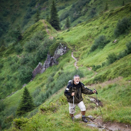 Active senior hiking in high mountains (Swiss Alps) Stock Photo - 12637893