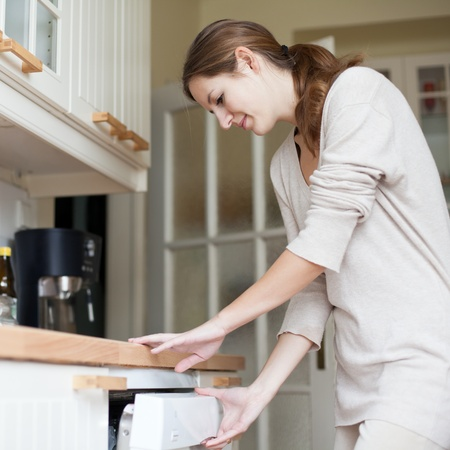 dishwasher: Housework: young woman putting dishes in the dishwasher Stock Photo