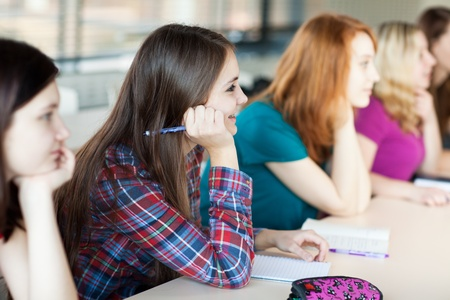 young pretty female college student sitting in a classroom full of students during class Stock Photo - 12989933