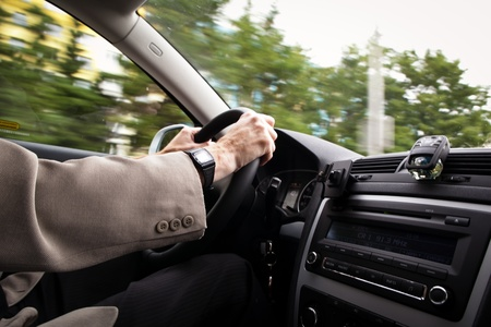 look inside: Driving a car (motion blur is used to convey movement)