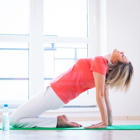 Pretty young woman doing YOGA exercise at home photo