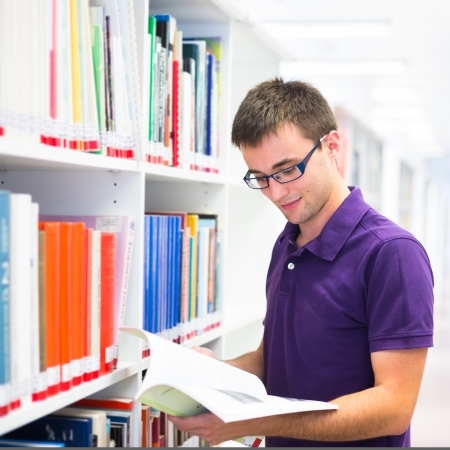 bookstore: Handsome college student in library