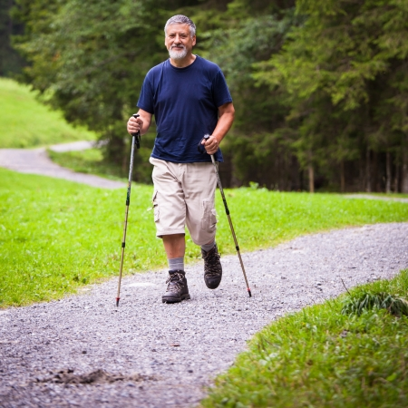 guy with walking stick: active handsome senior man nordic walking outdoors on a forest path, enjoying his retirement Stock Photo