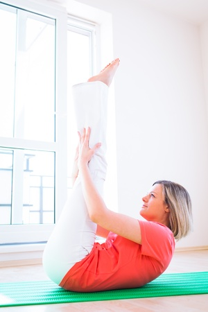 Pretty young woman doing YOGA exercise at home Stock Photo - 17038749