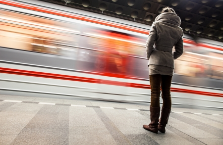 Subway station (motion blurred & color toned image) Stock Photo - 16818484