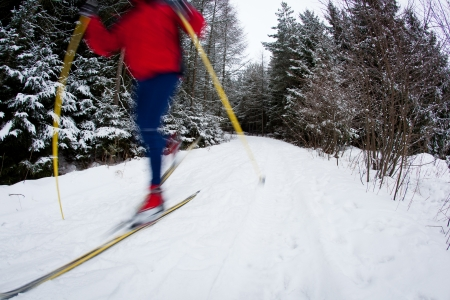 nordic ski: young man cross-country skiing on a snowy forest trail (motion blurred & color toned image)