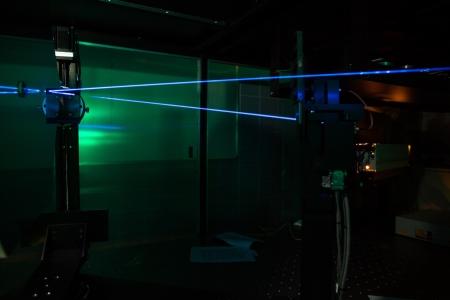quantum physics: Lasers in a quantum optics lab Stock Photo